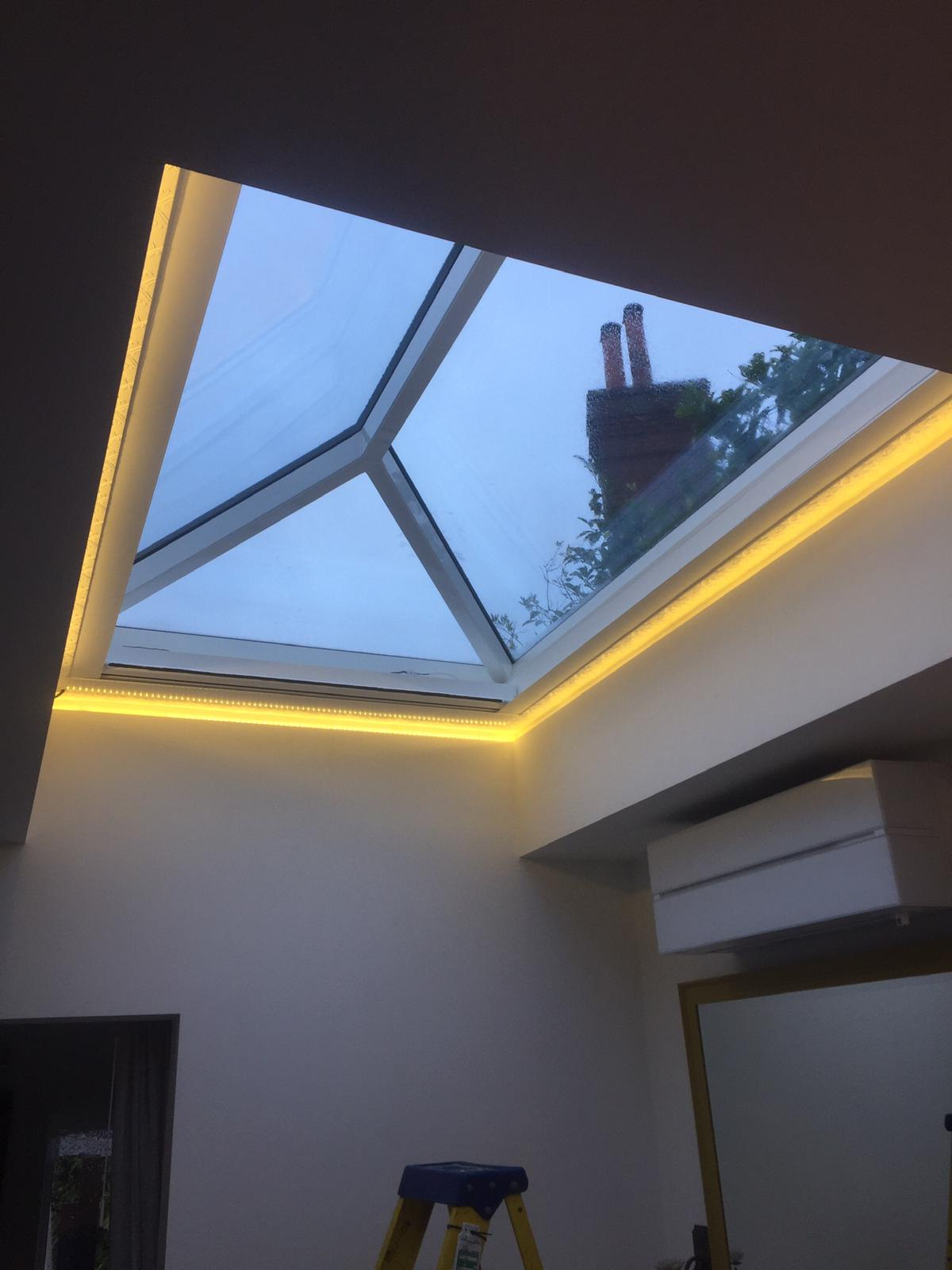 Customer's roof lantern blind open with LED lights around the edge