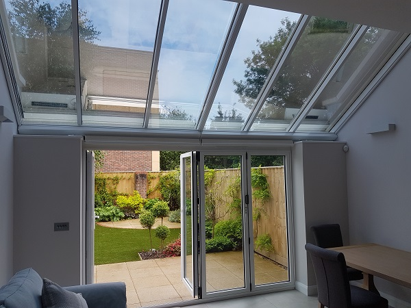 Customer's house with their roof lantern blinds open