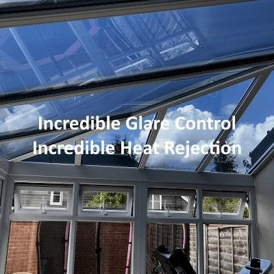 Low reflect extreme conservatory roof window film