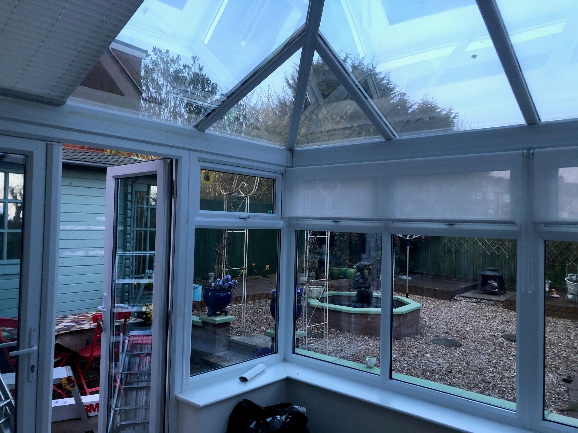 Interior view of conservatory solar window film: 3M Prestige 70 External.